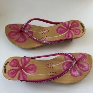 12dcae9c06ba WOODIES wooden sequin pink floral painted sandal
